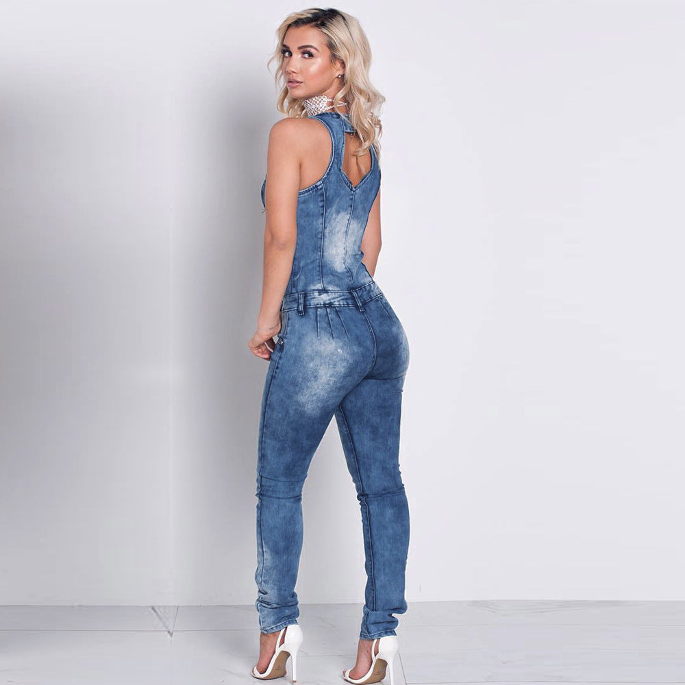 c41f6600abc3 Fashion denim jumpsuits for women deep v-neck sleeveless backless front  zipper slim jeans playsuits