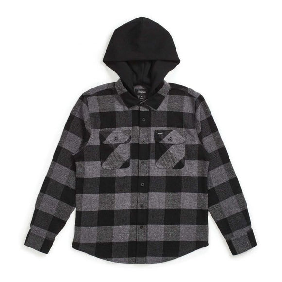 BOWERY HOOD L/S FLANNEL - BLACK/HEATHER GREY