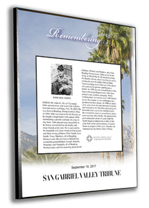 San Gabriel Valley Tribune Obituary Plaque - 1/4""