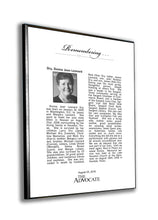 The Advocate Obituary Plaque - 1/4""