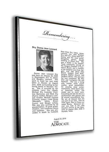 The Advocate Obituary Plaque - 1/4