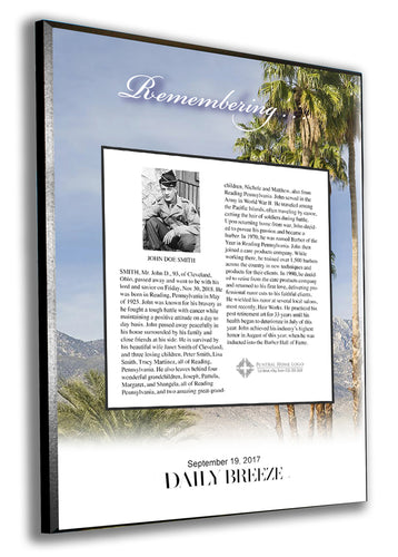 Torrance Daily Breeze Obituary Plaque - 1/4