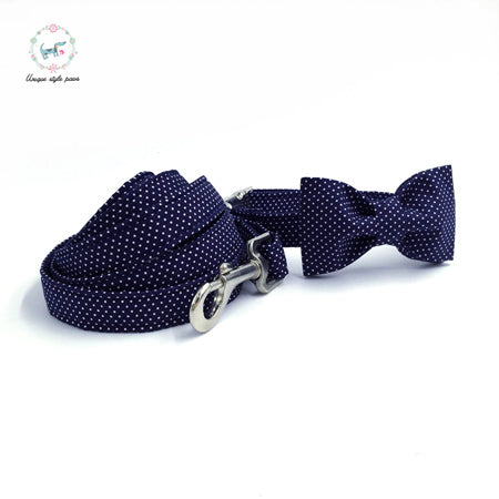 Handmade Dog Collar, Leash, and Bow Tie Set - Navy with White Polka Dots