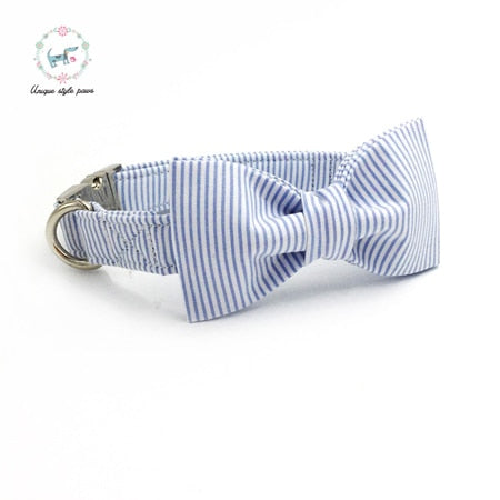 Handmade Dog Collar, Leash, and Bow Tie Set - Light Blue and White Stripes