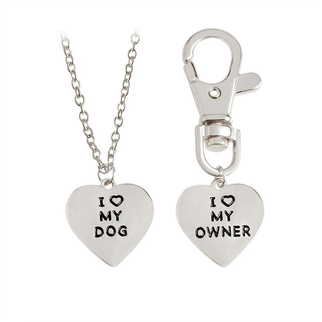 I Love My Dog, I Love My Owner Heart Necklace and Collar Charm Set