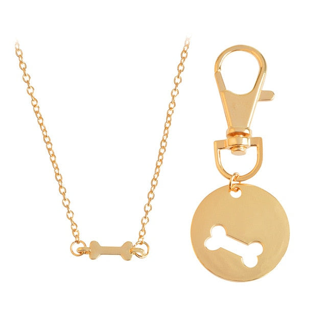 Dog Bone Necklace and Collar Charm Set