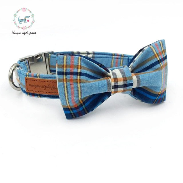 Handmade Dog Collar, Leash, and Bow Tie Set - Blue Plaid