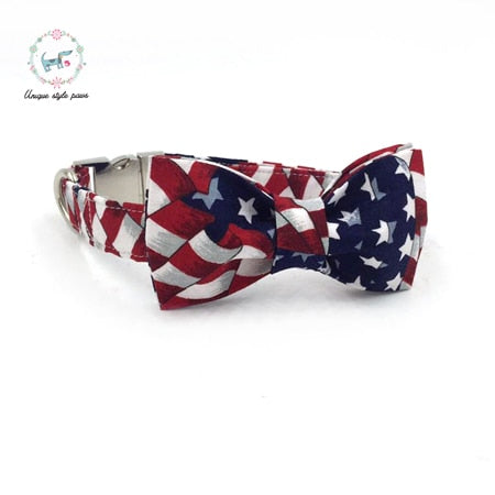 Handmade Dog Collar, Leash, and Bow Tie Set - Stars and Stripes