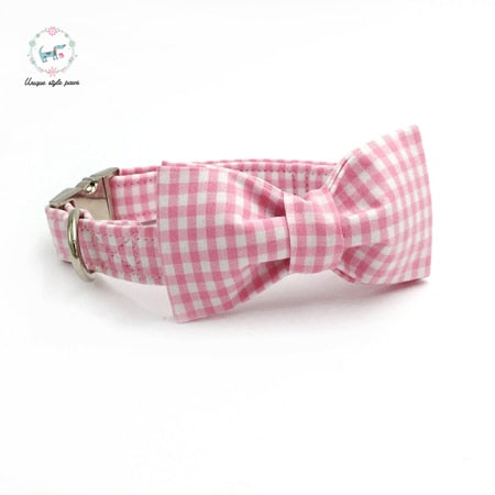 Handmade Dog Collar, Leash, and Bow Tie Set - Pink and White Gingham