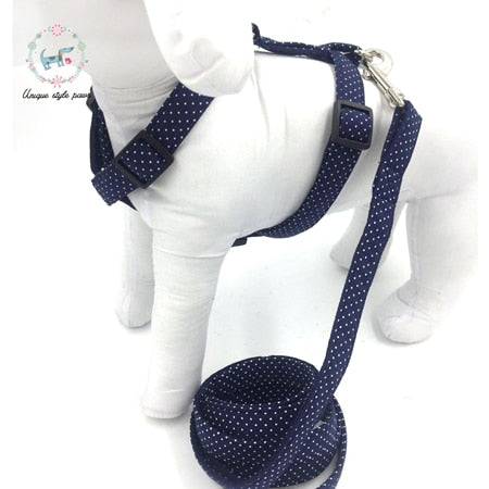 Handmade Harness, Leash, and Bow Tie Set - Navy with White Polka Dots