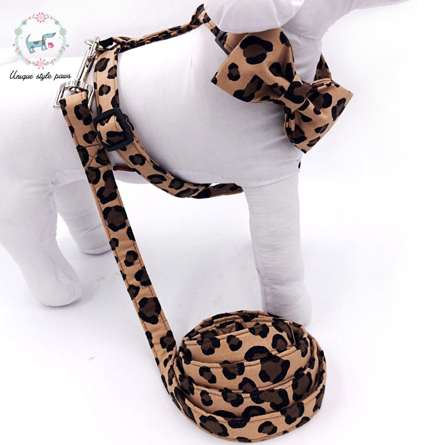 Handmade Dog Harness, Leash, and Bow Tie Set - Leopard Print