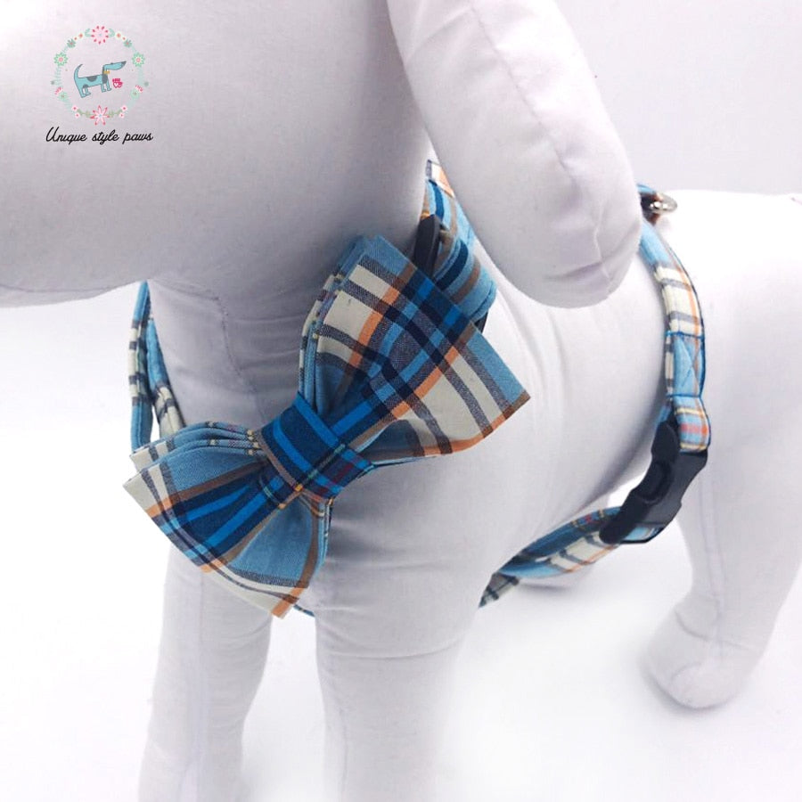 Handmade Dog Harness, Leash, and Bow Tie Set - Blue Plaid