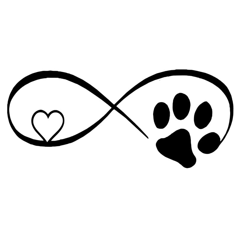 Infinity Heart and Paw Print Vinyl Sticker