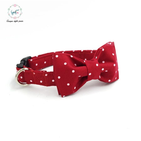 Handmade Dog Collar, Leash, and Bow Tie Set - Red with White Polka Dots
