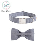 Handmade Dog Collar, Leash, and Bow Tie Set - Grey Tweed