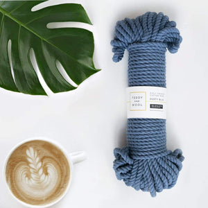 "Teddy and Wool Cotton Cord Twisted Macrame cord 6 MM - ""Dusty Blue"""