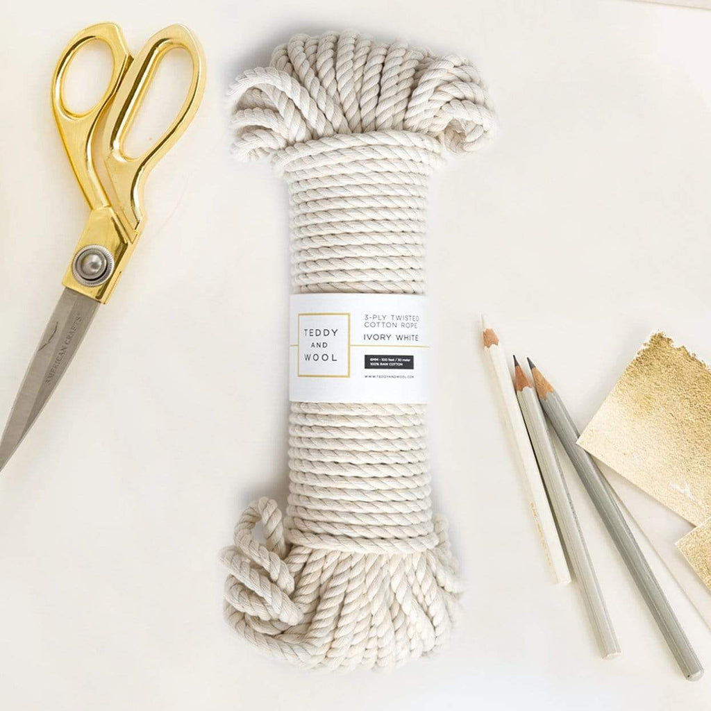 "Teddy and Wool Cotton Cord Twisted Macrame Cord 6 MM - ""Ivory White"""