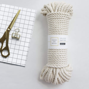 "Teddy and Wool Cotton Cord Twisted Macrame cord 8 MM (100, 300, 490 feet) - ""Ivory White"""