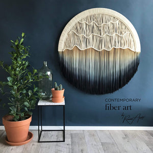 "Teddy and Wool Fiber Art Circular Art - Macrame Wall Hanging - Round Tapestry - ""Seaside"""