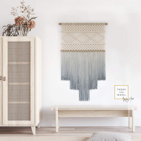 Teddy and Wool Fiber Art Elegant Macrame Wall Hanging - ATHENA