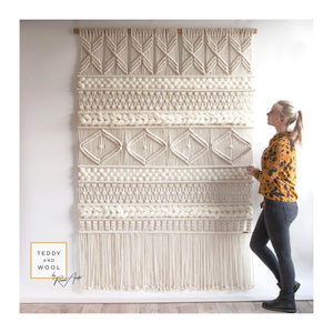 "Teddy and Wool Fiber Art Extra Large Macrame Wall Hanging, ""EDA"""