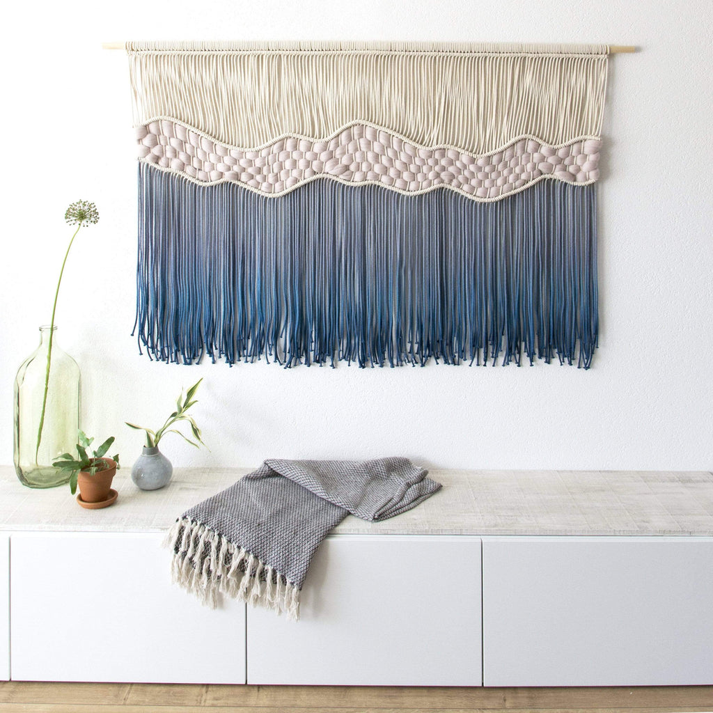 "Teddy and Wool Fiber Art Extra Large Macrame Wall Hanging - ""Where The Waves Break"""