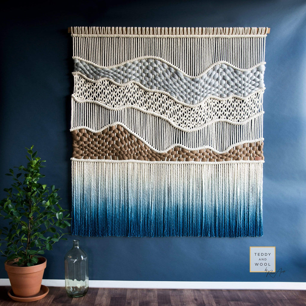 Teddy and Wool Fiber Art Extra Large Macrame Wall Hanging, Woven and Dyed Wall Tapestry - HIGH TOPS