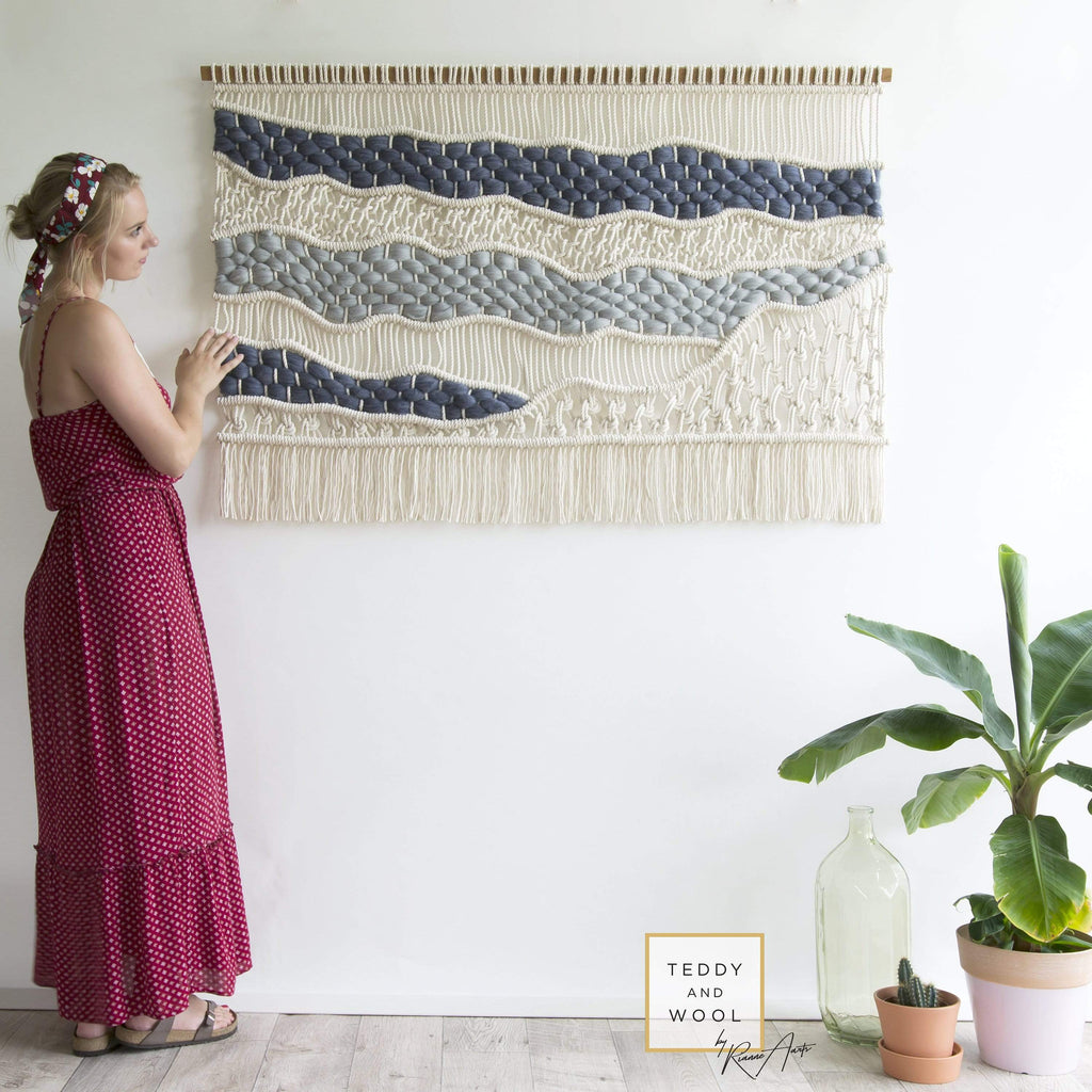 "Teddy and Wool Fiber Art Large macrame wall hanging  - ""Laura"""