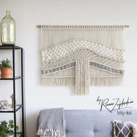 "Teddy and Wool Fiber Art Large Macrame Wall hanging - ""Raw River"""