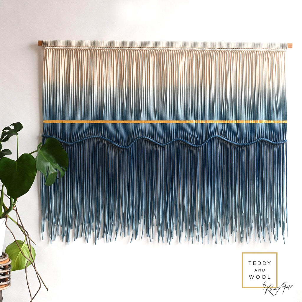 "Teddy and Wool Fiber Art Large Macrame Wall Hanging - ""SEA VIEW"""