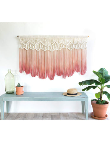 Teddy and Wool Fiber Art Large Wall Hanging - Rose Quartz""
