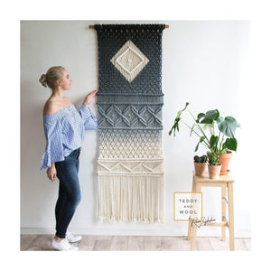 "Teddy and Wool Fiber Art Macrame Wall Hanging - Dyed Diamond Tapestry - ""Doris"""