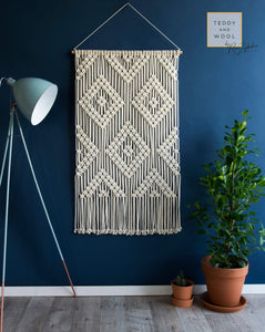 "Teddy and Wool Fiber Art Macrame Wall Hanging - ""MYRA"""