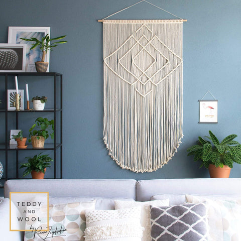 "Teddy and Wool Fiber Art Macrame Wall Tapestry - Fiber Art piece - ""IDA"""