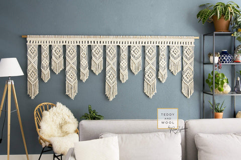 Teddy and Wool Fiber Art Wide Macrame Wall Hanging - SARA""