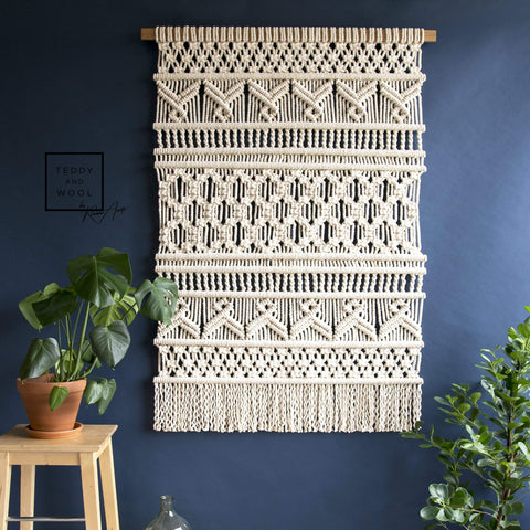 "Teddy and Wool Fiber Art XL Macrame Wall Hanging - ""Vivian"""