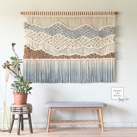 Large Macrame Wall Hanging - Macrame hanger - Macrame Wall Art - Dip dyed Tapestry - Woven Wall Art - 'Soft Hills'