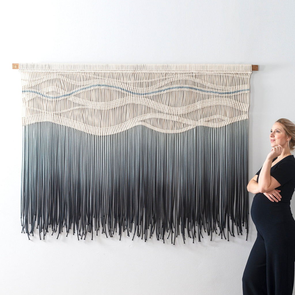 Black macrame wall hanging - Modern Statement Fiber Art - Dyed in a gorgeous Grey to Black Gradient - LOLA