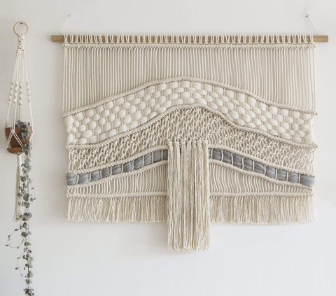 "Teddy and Wool Large Macrame Wall hanging - ""Raw River"""