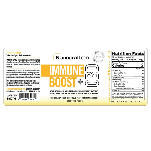 NanoCraft - Immune Boost + CBD Oil Softgel