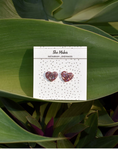 Holographic Pink Heart Studs