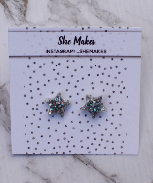 Holographic Silver Star Studs