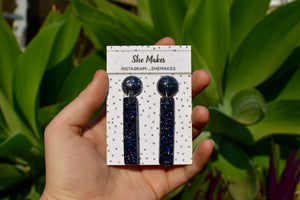 Long Icy Navy Dangles