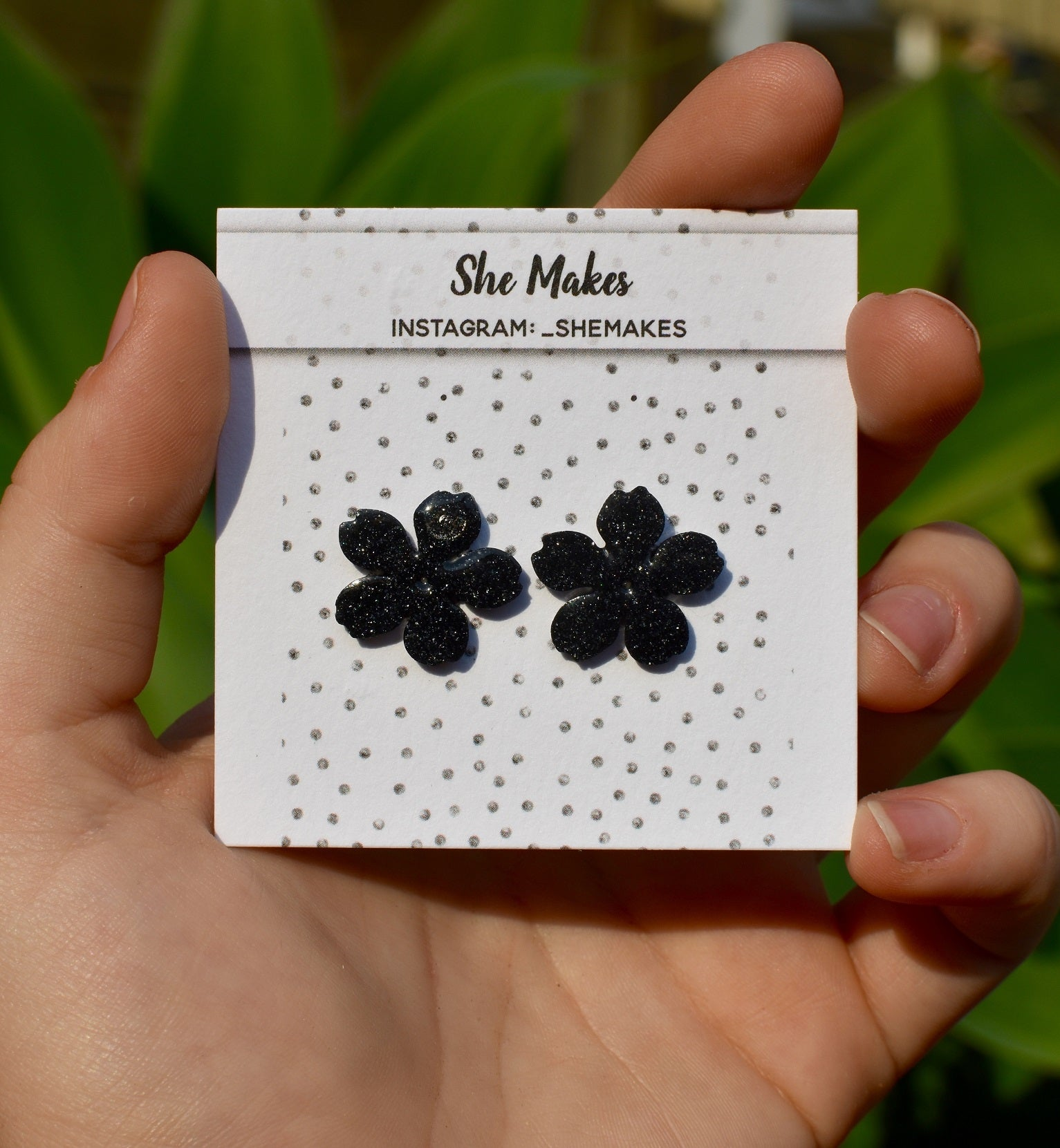 Mini Black Sakura Studs