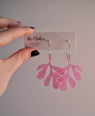Pink Leafy Dangles