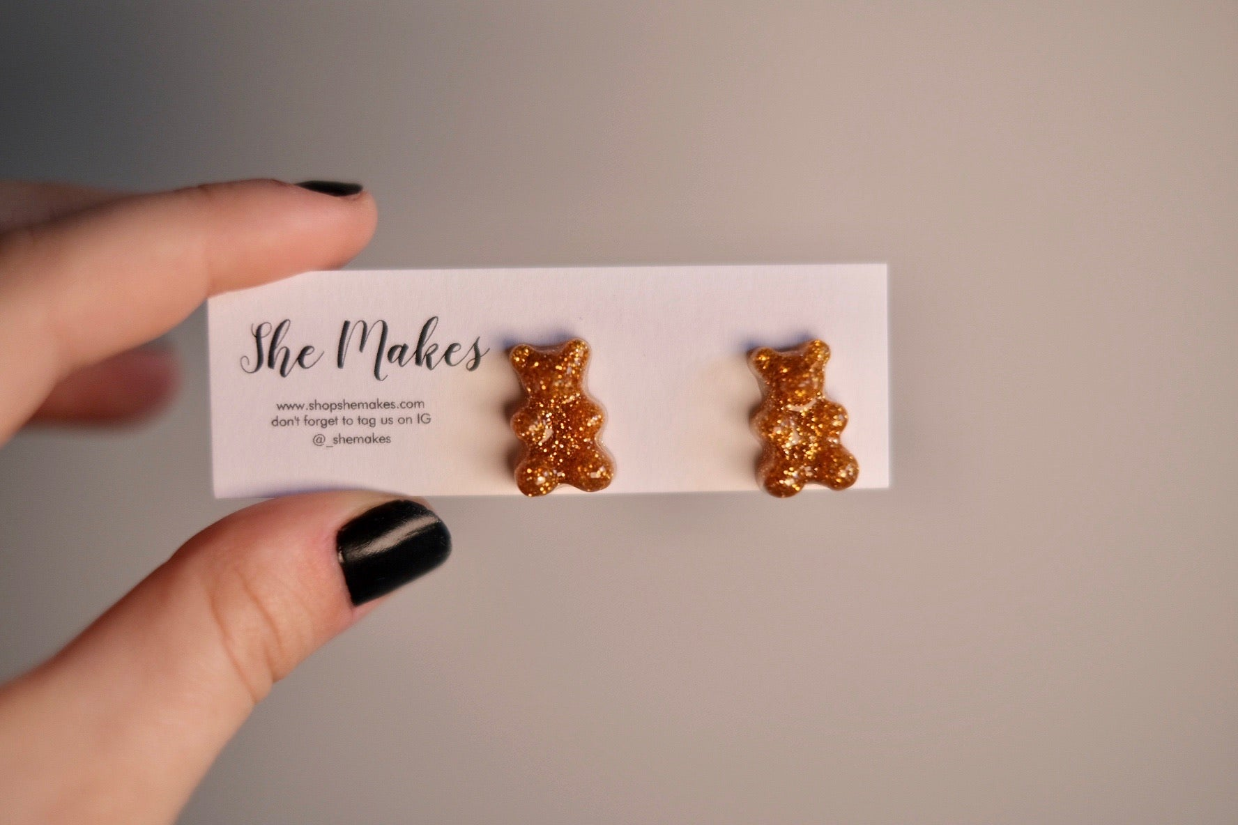 Gold Gummy Bear Studs