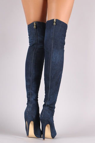 9ed170c3739 Liliana Denim Lace Up Stiletto Heeled Over-The-Knee Boots