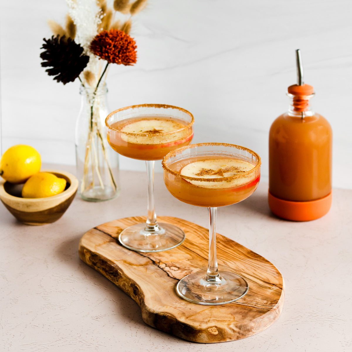 Fall cocktail recipe with apple