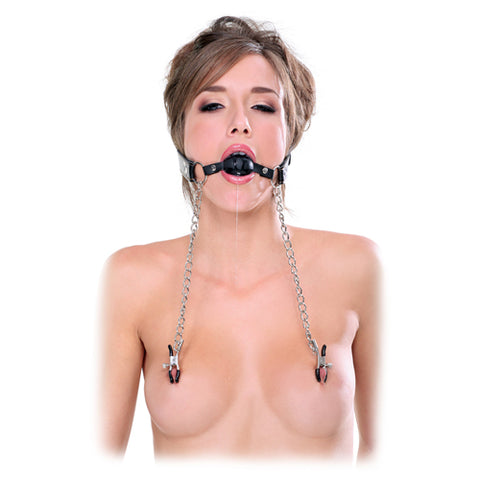 Deluxe Ball Gag and Nipple Clamps - Upphetsad