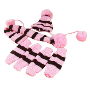6Pc/Set Lovely Dog Pet Puppy Hat Scarf Wool Leg Warmer Clothes Acessorios Pet Cat Dog Products Supplies